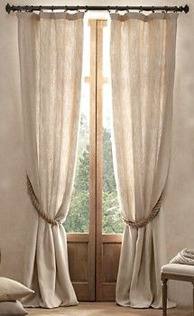 love the idea of using boat rope to tie back curtains