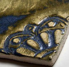 Handmade Ceramic Decorative Tile - Arabesque Corner in Atlantis Glaze by DeKa Ceramic Tiles