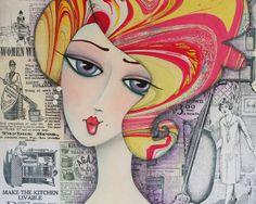 Whimsical Girl Folk Art  Mixed Media Art Print by whimsiesfolksies, $22.00