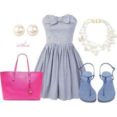 Fresh Blue Dress Outfit Idea for Summer