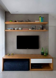 9 Fine Tips AND Tricks: How To Make Floating Shelves The Wall floating shelves kitchen ideas.Floating Shelves Over Tv Small Spaces floating shelves kitchen tubs.Floating Shelf With Drawer Furniture. Living Room White, Living Room Tv, Home And Living, Floating Shelves Bedroom, Rustic Floating Shelves, Sofa Scandinavian, Living Room Designs, Small Spaces, Small Rooms