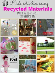 Fun and simple crafts, activities and learning games for kids using recycled materials - featured at One Perfect Day.