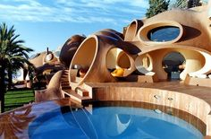 Built back in the '70s for fashion designer Pierre Cardin, this oddly-shaped home is listed as a historic monument by the French Ministry of Culture.