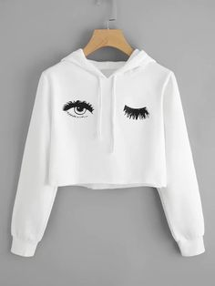 Blink One Eye Print Crop. Hoodie Hoodies For Teens // Cute Hoodies // Hoodies Womens // Hoodie Outfit // Hoodie Cool // Hoodie Aesthetic // Hoodie Sweatshirt // Cropped Hoodies // Crop Top Hoodie, Cropped Hoodie, Sweater Hoodie, Hoodie Outfit, White Hoodie, Outfit Jeans, Mode Outfits, Girl Outfits, Casual Outfits
