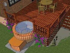 layout - fancy idea for sunken hot tub Northern Lights Cedar Tubs' engineer's wooden hot tub designs which are deck integrated ones for dream tub installation. Hot Tub Deck, Hot Tub Backyard, Hot Tub Garden, Backyard Patio, Hot Tub Patio On A Budget, Backyard Layout, Garden Pool, Pool Indoor, Indoor Outdoor