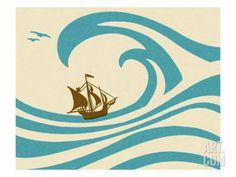 Sailboat at Sea Art Print by Pop Ink - CSA Images at Art.com