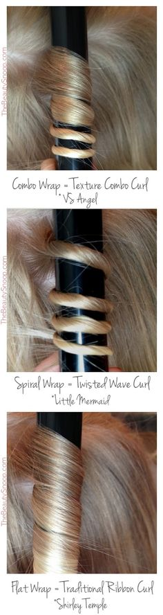 Curl Wrap Techniques, which shows the different methods for wrapping and the types of curls that will result // so helpful! Vintage Waves Tutorial, Pretty Hairstyles, Simple Hairstyles For Medium Hair, Curled Hairstyles, Easy Hairstyles For Medium Hair, Hairdos, Curling Techniques, Curling Wand Tips, Curling Wand Tutorial