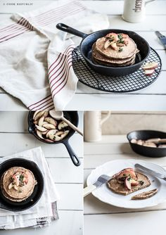 Yeast Molasses Pancakes With Lemon Thyme Apples (100% Whole Wheat, Free of Refined Sugars)