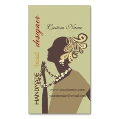 Fashion Jewel Model with Modern Beaded Art Business Card. This great business card design is available for customization. All text style, colors, sizes can be modified to fit your needs. Just click the image to learn more! Fashion Business Cards, Art Business Cards, Business Card Design, Creative Business, Jewel Artist, Jewelry Illustration, Name Cards, Bead Art, Jewelry Design