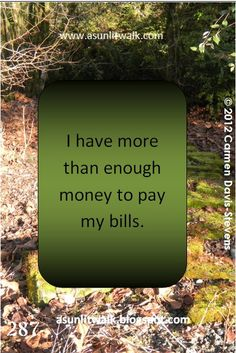 287 I have more than enough money to pay my bills | A Sunlit Walk