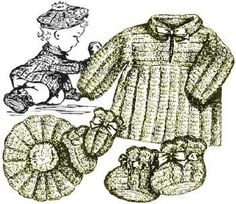 Baby Pleated Outfit Vintage Crochet Pattern for download Sz 6 mos