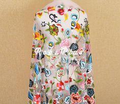Multi kleur Schiffli Lace - Multi-Color Tulle Borduur Lace - geborduurde Tule Lace stof-multi color Floral geborduurd Lace-L210