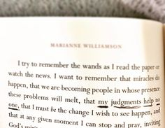 """""""My judgements help no one."""" Wow. That's a biggie to remember including with regard to judging yourself. We all judge -- it's human nature -- but the best among us recognize the uselessness of judgement discard it and help instead. (Book: """"Everyday Grace"""" by @mariannewilliamson.) #books #bookstagram #lisbethreading"""