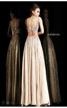 Gorgeous Sherri Hill 8533 Long Prom Dress Nude
