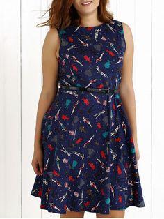 Plus Size Vintage Beauty Print Swing Dress