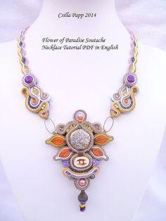 Flower of Paradise Soutache Necklace Tutorial by CsillaPapp, $20.00