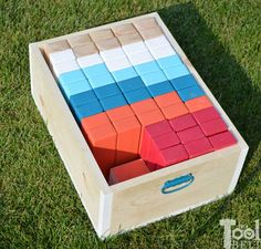 Make your own Jumbo Jenga with a carrying crate that doubles as a playing stand. Add colored dice for a fun roll 'n go option to mix things up.