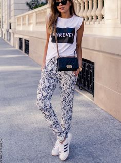 white t-shirt trousers sneakers black shoulder bag, Casual women fashion outfit clothing style apparel @roressclothes closet ideas