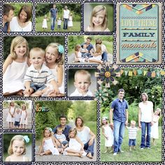 Digital Scrapbook Page, Family Collage, 2 page layout, right side