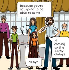 ok bye   because you're not going to be able to come   Hi coming to the party always Family Guy, Activities, Guys, Party, Fictional Characters, Comics, Parties, Boyfriends, Fantasy Characters