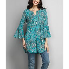 Reborn Collection Aqua Paisley Notch Neck Bell-Sleeve Tunic ($35) ❤ liked on Polyvore featuring tops, tunics, split neck tunic, blue paisley top, blue tunic, long bell sleeve tops and aqua blue tops