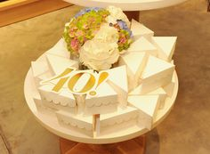 Triangle cake boxes. Construct London for Mulberry 40th anniversary party.