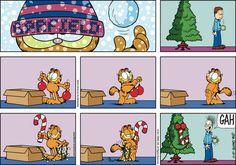 "Garfield photo ""Tis the season! Garfield Quotes, Garfield And Odie, Garfield Comics, Garfield Christmas, Christmas Comics, Pokemon, Cartoon Jokes, Cat Cartoons, Cartoon Cats"