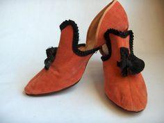 Vintage 1920s 30s Heels: Velvet, Black Bow, Trim, Boudoir, Pumps, Slippers, Shoes, Flapper, Art Deco, Louis Heel, High Tab, Salmon, Gatsby on Etsy, $120.00
