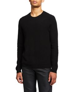 Theory Medin Crewneck Cashmere Sweater In Black Crewneck Sweater, Pullover Sweaters, Men Sweater, Theory Clothing, Workout Vest, Black Sweaters, Cashmere Sweaters, Crew Neck, Sleeves