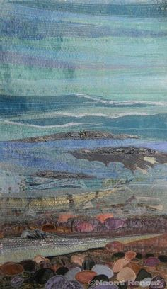 Textile Seascapes At the water's edge by Naomi Renouf Textile Seascapes At the water's edge by Naomi Renouf Fiber Art Quilts, Beach Quilt, Landscape Art Quilts, Free Motion Embroidery, Machine Embroidery, Thread Painting, Tapestry Weaving, Textile Artists, Beach Art