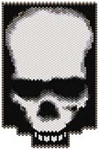 Skull by Sigrid Wynne-Evans Seed Bead Patterns, Beading Patterns, Craft Patterns, Beaded Skull, Peyote Stitch, Cartoon Characters, Skulls, Seed Beads, Projects To Try