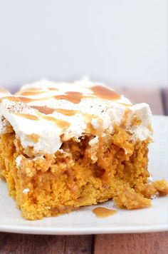 Salted Caramel Pumpkin Poke Cake - super easy and even better the second day.  Use this recipe for the caramel (lots of helpful hints) - http://www.brighteyedbaker.com/2012/07/24/diy-caramel-sauce/ (see adjacent pin)