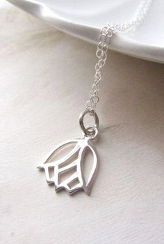 b496e73224c2 Items similar to Sterling Silver Necklace with Lotus Flower Charm