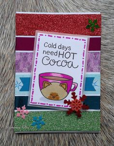 """Stamps:   Newton's Nook Cup of Cocoa Paper:   Neenah Solar White, pink vellum Ink:  Lawn Fawn Jet Black Accessories:   Washi tape, snowflake/starflake sequins Techniques:   Colouring with markers  This is an ATC (Artist Trading Card) measuring 2.5"""" x 3.5"""". I found inspiration here:  Winter Coffee Lovers Blog Hop – Winter-themed Coffee, Tea, Cocoa Project coffeelovingcardmakers.com/5342  ABC Christmas Challenge – Y for Yummy  abcchristmaschallenge.blogspot.ca/2017/12/a..."""