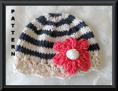 Knitting Pattern for Baby Hat-Children Clothing-Lace Cloche-Hand Knitted BABY HAT PATTERN-Indigo and Ivory Stripes with Coral Flower. $4.99, via Etsy.
