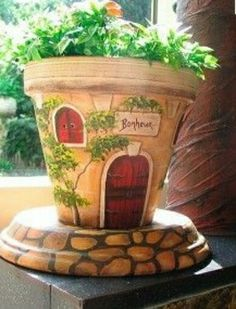 Painted Terra-cotta Pot … … - All About Flower Pot Art, Clay Flower Pots, Flower Pot Crafts, Flower Pot Design, Flower Pot People, Clay Pot People, Clay Pot Projects, Clay Pot Crafts, Diy Clay