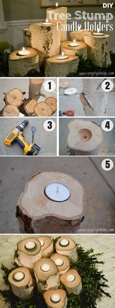 The best DIY projects & DIY ideas and tutorials: sewing, paper craft, DIY. Diy Candles Ideas Brilliant rustic easy to make DIY Tree Stump Candle Holders for fall decor DIY Home Decor Ideas @ ISD -Read Deco Table Noel, Diy Candle Holders, Woodworking Projects Diy, Wood Projects, Easy Projects, Easy Home Decor, Home Decor Accessories, Rustic Decor, Rustic Outdoor
