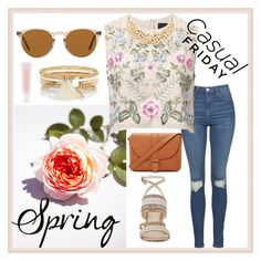 """Spring Day to Night"" by joziee ❤ liked on Polyvore featuring Topshop, Needle & Thread, Nine West, Forever 21, Oliver Peoples, River Island and Lancôme"
