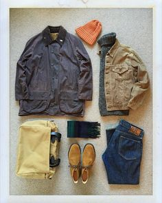Today's Outfit. #Barbour #Beaufort Oiled Jacket 70's #Levis #BigE 70505 Corduroy Jacket #JohnTulloch Turtle Neck Sweater #BeamsPlus Wool Knit Cap #Johnstons Cashmere Scarf #RRL Slim Fit Jeans #Filson Zippered Tote Bag #Churchs Suede Ryder #OutFitoftheDay #OutFitGrid #OOTD #DailyFashion #Cordinate #Vintage #Fashion #FashionPost #ファッション #コーディネート #バブアー #リーバイス #ジョンタロック #ジョンストンズ #ラルフローレン #フィルソン #チャーチ by the.daily.obsessions