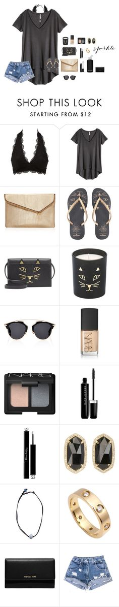 """""""I love to hear your laugh"""" by thepreppybohogirl ❤ liked on Polyvore featuring Charlotte Russe, H&M, Henri Bendel, Charlotte Olympia, Christian Dior, bkr, NARS Cosmetics, Marc Jacobs, Kendra Scott and Kala"""