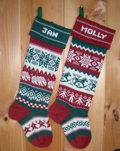 Polar Bear Personalized Christmas Stocking Red by TerrapinKnits, $58.00