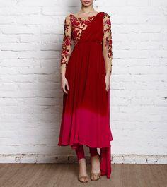 Beige, Maroon & Pink Embroidered Georgette Churidar Suit With One Shoulder Drape Dupatta