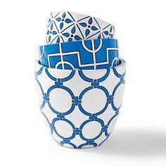 Grandin Road Allison Set of Three 3 Planters Island blue white garden pots, geometrical FUN!