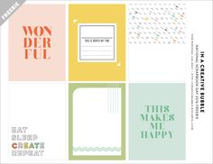 Free Eat, Sleep, Creat Journaling Cards from In a Creative Bubble
