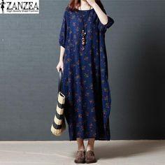 ZANZEA Women's Summer Floral Print Half Sleeve Loose Kaftan Long Dress Plus Size