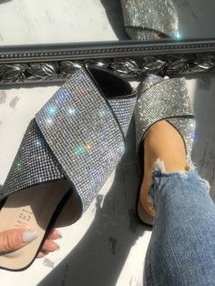 Shop Two Tone Hollow Out Toe Ring Flat Sandals right now, get great deals at joyshoetique Bling Sandals, Cute Sandals, Flat Sandals, Cute Shoes, Me Too Shoes, Shoes Sandals, Bling Shoes, Criss Cross, Baby Slippers