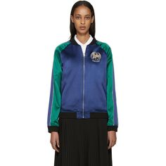 Opening Ceremony Navy and Green Reversible Bonsai Bomber Jacket (€470) ❤ liked on Polyvore featuring outerwear, jackets, navy blue jacket, green bomber jacket, reversible jacket, navy jacket and floral bomber jacket