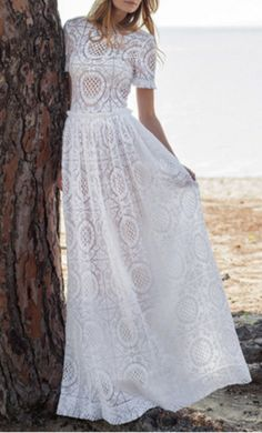 Other Costarellos - Short Sleeve Cotton Lace Gown: buy this dress for a fraction of the salon price on PreOwnedWeddingDresses.com