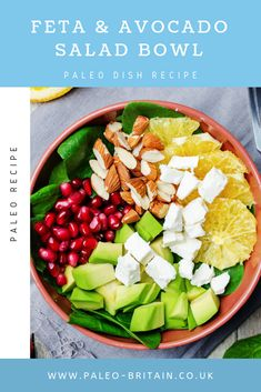 Feta & Avocado Salad Bowl  #Paleo #recipe #food #healthyfoods #diet #keto #avocadoSalad