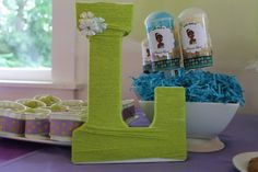 Yarn wrapped letter at a Princess and the Frog Party #princessfrog #party